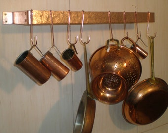 24 W x 5 D x 1-1/2 H Wall Mounted Hammered SOLID COPPER Pot Rack & 8 Pot Hooks - FREE Shipping to U S Zip codes