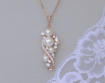 Rose Gold Pearl Necklace, Rose Gold Bridal Necklace, Silver, Rose Gold & 18k Gold Necklace, TILLY RG
