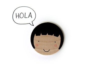 Brooch Happy Faces · Hand Screenprinted Wooden Brooch