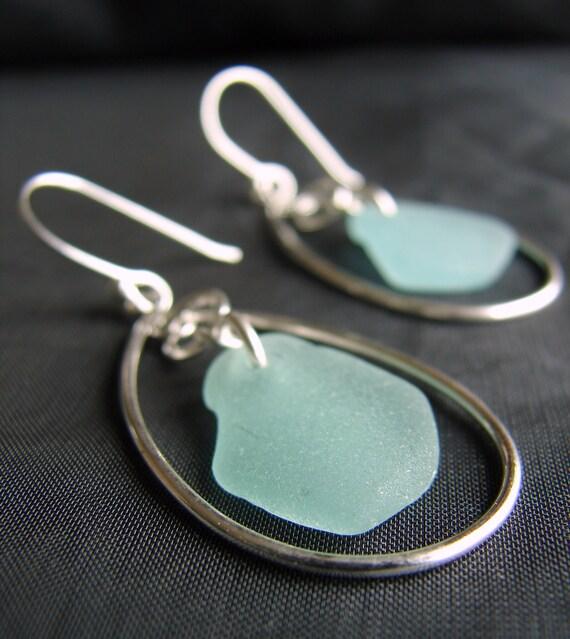 Sea Keeper sea glass earrings in soft seafoam green