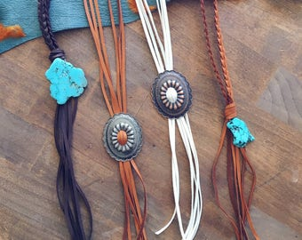 Fringe Concho Necklace / Western Necklace / Leather Fringe