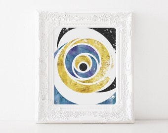 Gold Abstract Art - Abstract Geometric Art - Blue and Gold - Gold Geometric Art - Gold Foil Prints - Geometric Watercolor Art - Office Decor