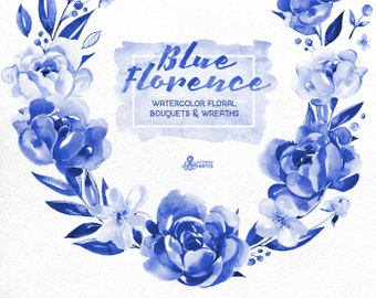 Blue Ink Florence. Watercolor Bouquets and Wreaths, delft blue, peony, floral wedding invite, greeting card, diy, flowers, china blue