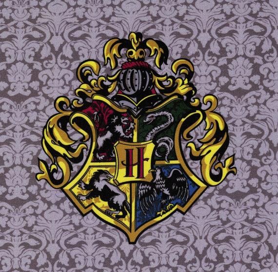 hogwarts crest harry potter fabric print. Black Bedroom Furniture Sets. Home Design Ideas