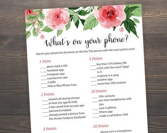 Whats on your Phone, Baby Shower Games, Printable Baby Shower, Floral Baby Shower, Cell Phone Game, Whats in your Phone, Game Mobile, S017