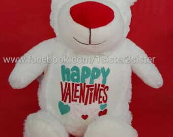 Stuffed animal - White Valentines day bear - embroidered