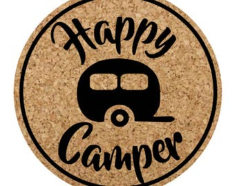 Happy Camper Cork Coasters set of 4