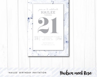 Printable - The 'Hailee' Marble Birthday Invitation | 21st | 18th | 30th | 40th | Milestone | Watercolor