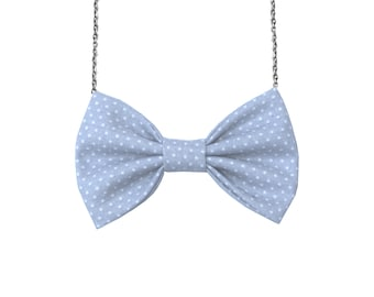 Grey-White Tiny Dot Cotton Bow-tie Necklace, Bowtie for Women, Girls - 18-20 inches Chain - Casual, Bohemian, Party, Wedding, Gift