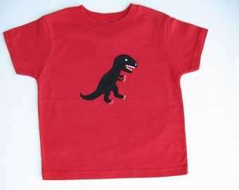 Dinosaur T Shirt, T Rex Tee or Top, Hand Painted for Baby or Toddler,   Birthday Party Shirt