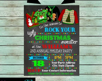 Holiday Christmas Ugly Sweater Party Chalkboard Invitations Invites Office Party Personalized Custom ~ We Print and Mail to You