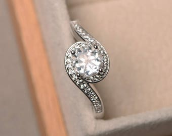 Round cut gemstone, natural white topaz ring, engagement ring, sterling silver ring, gemstone ring, November birthstone ring