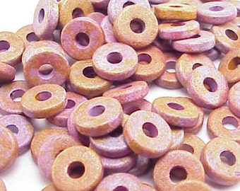 Greek Ceramic 8mm Disk Beads  Brown Purple 16016 2.6mm Hole Disc Beads, Narrow Beads, Spacer Beads, Large Hole Beads, Big Hole Bead