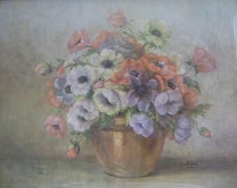 "Vintage Floral Still Life Flowers Litho Wall Art Print ""Mixed Flowers"" by C. V. Bibra, Carved Wood Frame, Lavender White Salmon Terra Cotta"