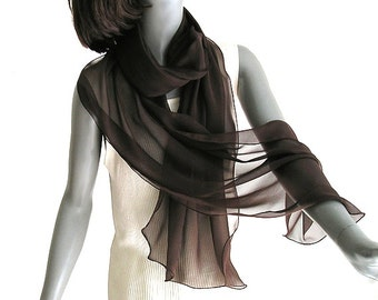 "Brown Chiffon Scarf, Chocolate Silk Shawl, Long Brown Scarf Wrap, 100% Silk Chiffon, Formal Shoulder Scarf, Artinsilk, 20x70"" M L, Artinsilk"