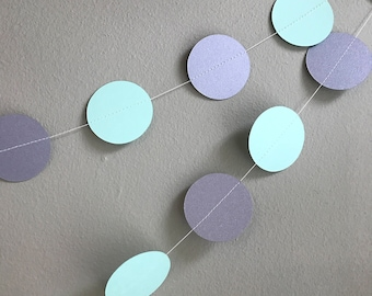 Party garland - Mint and silver garland - Handmade garland - Celebration decorations -Celebration accessories-Mint-Pearlised silver-Shimmer