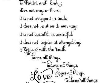 Love is Patient Love is Kind Wall Decal | Corinthians 13 wall sticker| FREE shipping