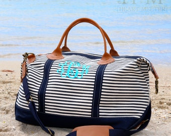 Sale! Navy Weekender Monogrammed Bag - Monogrammed Navy Striped Duffle Bag - Monogrammed Overnight Bag - Carry ON Bag - Bridal Gift