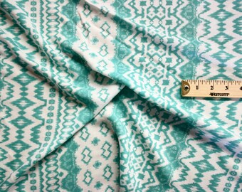 "Turquoise Tribal Print Rayon Fabric 58"" Wide Per Yard"
