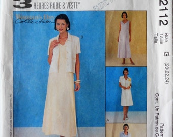 McCall's 2112.  Womens' dress and jacket pattern.  A line dress and Unlined short jacket pattern.  Mother of bride or groom dress.  SZ 20-24