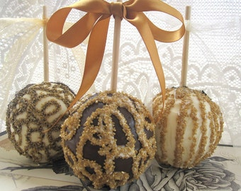 SPECIAL ORDER FAVORS - Candy Apple - 12  Gold-White-Black Wedding or Special Event Gourmet Caramel Chocolate Apples