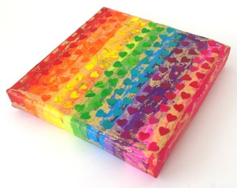 Mini Hearts Rainbow - A Mixed Media Painting in shades of Rainbow with Mini Rainbow Hearts. Stretched on a Frame. Original Art. Rainbow Art