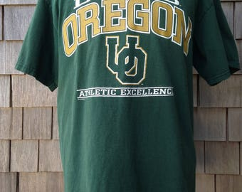 Vintage 90s University of Oregon Ducks T Shirt by Nutmeg - Large / XL