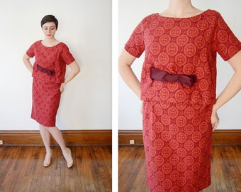 1960s Maroon and Orange Patterned Dress - S/M