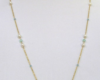 Chalcedony & Pearl Necklace - item #4780