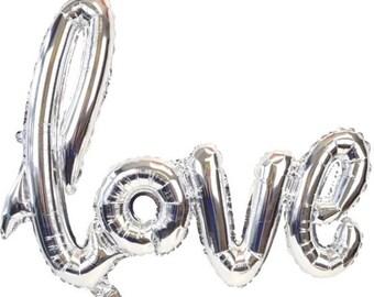 Silver Love Balloon - Bridal Shower Balloon - Wedding Balloon Decorations