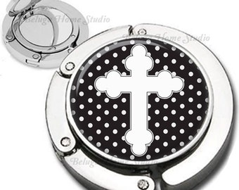 White Cross on Black and White Polka Dots Purse Hook Bag Hanger Lipstick Compact Mirror
