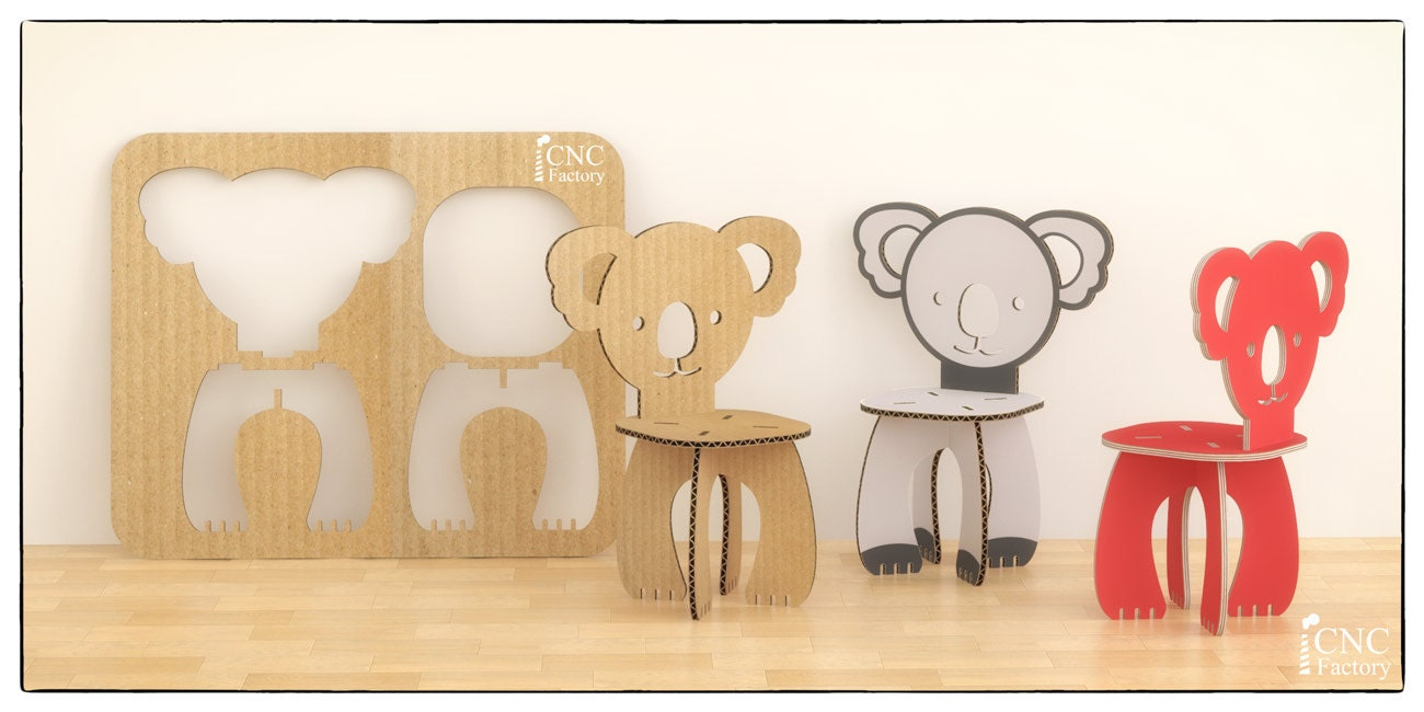 PANDA CHAIR Cnc template cutting file wooden cardboard