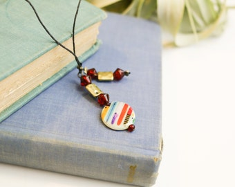 Bookmark with red and gold beads