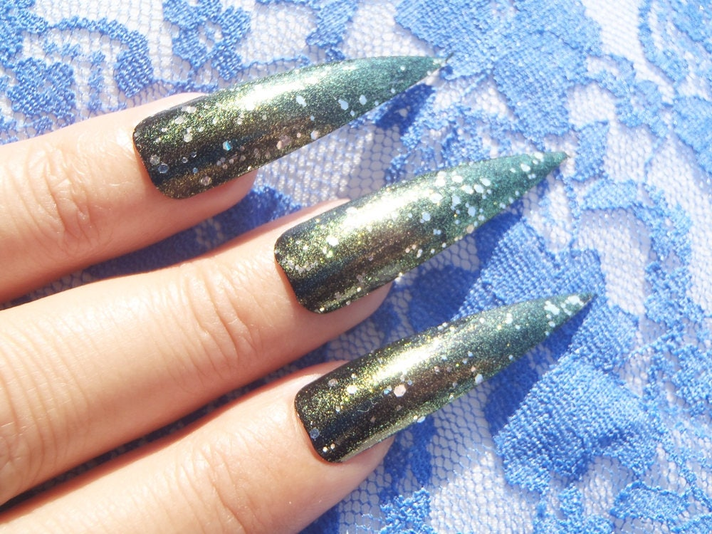 long dark stiletto nails halloween costume vampire green gold drag ...