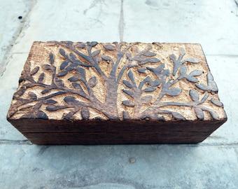 Tree of Life Box Chest Wooden Handmade Trinket Wood Mango Tree Eco Friendly Symbol Jewelry