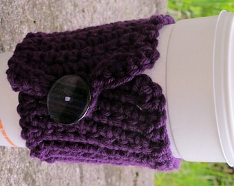 Eggplant Purple Crochet Cup Cozy with Button Ready to Ship