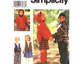 Boys & Girls Hoodie Top Vest Skirt Pants Purse Pattern Simplicity 9778 Kids Sewing Pattern Size 2 3 4 UNCUT