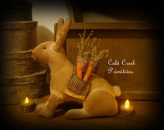 Primitive Bunny Sitting with Carrots