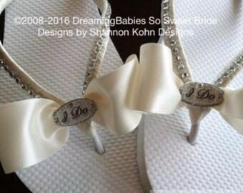 I Do Bridal Flip Flops, Ivory Bridal Sandals, Custom Wedding Flip Flops, Dancing Shoes, I Do Bridal Sandals, Beach Wedding Sandals Shoes