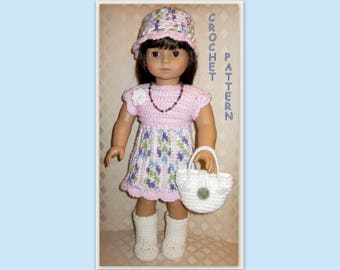 PDF crochet pattern 18 - complete outfit - dress, hat, boots and handbag - fits American Girl or other 18 inch doll