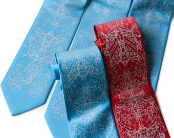 5 custom wedding neckties. 20% Groomsman Group discount, matching silkscreened wedding party ties. Vegan-safe microfiber.