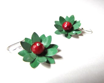 Emerald Green and Ruby Red Earrings from Recycled Soda Cans