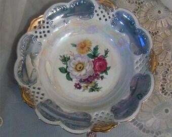 Vintage Limoges Serving Dish, Plate. Exquisite colors with lattice border.