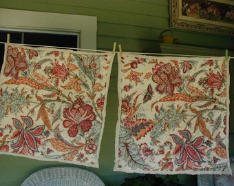 Vintage Pillow Shams, Pair of Quilted Shams, Euro Size, 25 x 25, 100% Cotton, Stylized Flowers, Barn Red, Pumpkin, Teal Green, Hand Quilted