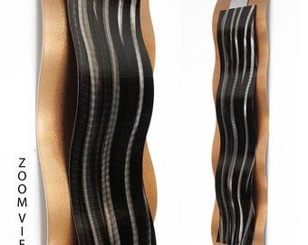"Metal Wall Art Metal Wall Sculpture Copper Wall Art ""Rythmic Curves"" by Brian M Jones Modern Paintings Decor Black Copper"