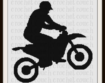 Dirt Bike SC Graph, Word Chart, Dirt Bike Crochet Pattern