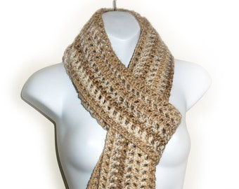 Scarf Tan Beige Off White, Neutral, Long, Crocheted, Lacy, Fishnet, Fashion, Sandy, Sand, Ready to Ship