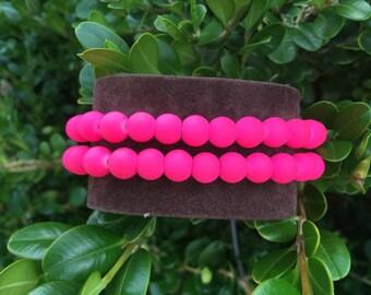 SALE - Bright Pink Beaded Bracelet Set (2). 8mm bead bracelets. Hot pink statement jewelry. Women's stackable stretch bracelets. Handmade.