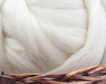 Corriedale Cross Wool Top Roving - Undyed Spinning & Felting Fiber / 1oz