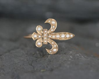 14k Yellow Gold Pearl Victorian Fleur de Lis Conversion Ring - JL772